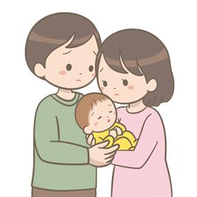夫婦が不安そうな表情で乳児を抱いているイラスト