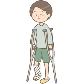 松葉杖を使う男性のイラスト