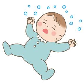啼泣している赤ちゃんのイラスト
