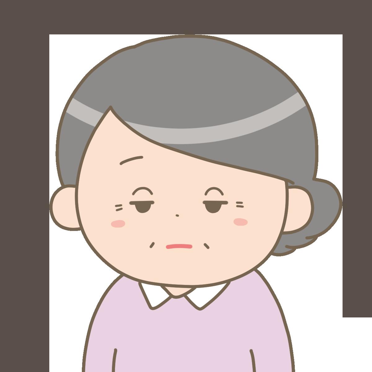 意欲低下で眠そうな高齢女性のイラストフリー素材看護roo