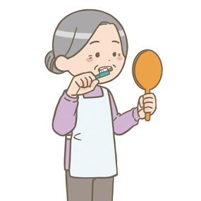 高齢女性が歯を磨いているイラストです。鏡を見ながら丁寧に磨いています。