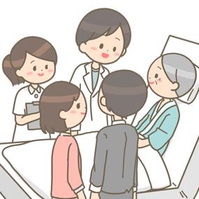 医師が入院患者さんに説明をしているイラスト