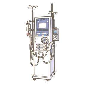 血液透析の際に用いられる透析機器(機械)のイラストです。ダイアライザー付です。