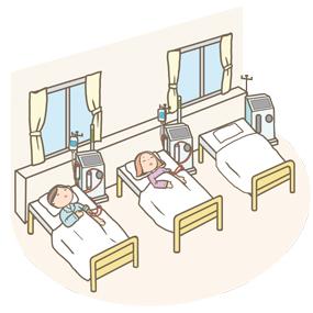 人工透析室のイラストです。血液透析(HD)、血液透析濾過療法(HDF)などを受ける患者さんがベッドで横になっています。