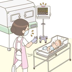 コットにいる赤ちゃんのオムツ交換をしている時に、心電図モニターのアラームが鳴りガウンや手袋をしたまま対応に向かう看護師さんのイラスト