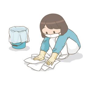 嘔吐物の処理をしているお母さんのイラスト