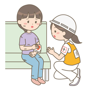 災害支援を行う看護師(救急外来)のイラスト