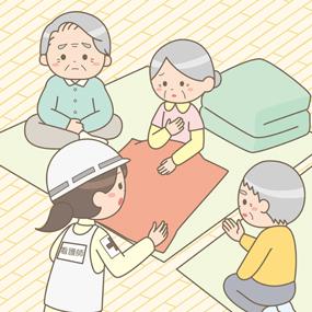 災害支援を行う看護師(避難所)のイラスト