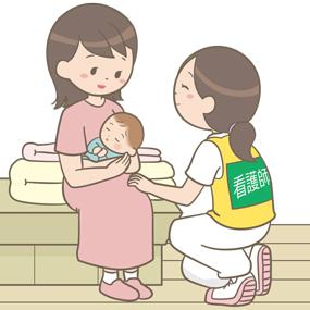 被災した産婦の話を聞いている災害支援ナースのイラスト