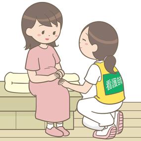 被災した妊婦の話を聞いている災害支援ナースのイラスト
