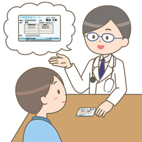 赤血球不規則抗体保有カードを患者に渡し説明している医師のイラスト