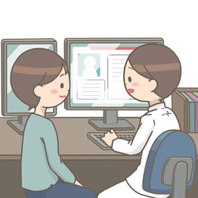 電子カルテに情報を入力しながら患者さんに問診をする医師のイラスト