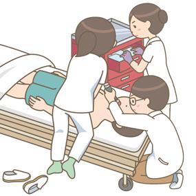 医師・看護師が急変の対応で蘇生(気管挿管・胸骨圧迫)をしているイラスト