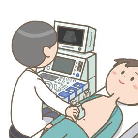 腹部超音波検査(腹部エコー)をする医師のイラスト