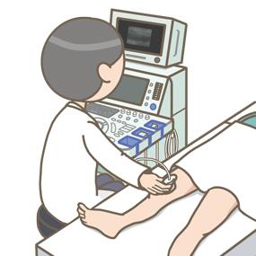 下肢超音波検査(下肢エコー)をする医師のイラスト