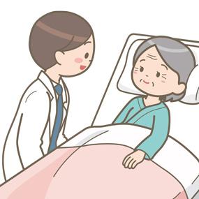 患者と笑顔で話す医師のイラスト