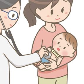 小児科で生後゙2か月の赤ちゃんが診察を受けるイラスト
