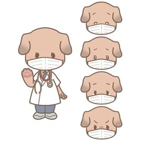 マスクを付けた犬の医師のイラスト