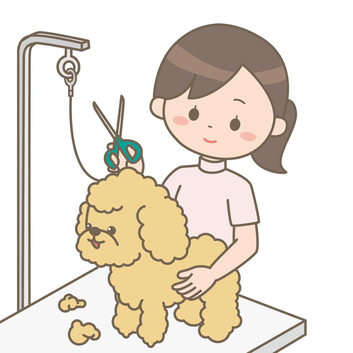 動物看護師がはさみで犬の毛を刈っているイラストフリー素材看護