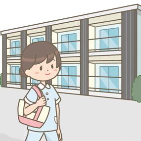 看護学生さんが学生寮に帰ってきたイラストです。