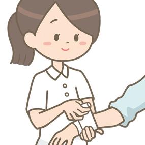 包帯を巻く看護師のイラスト