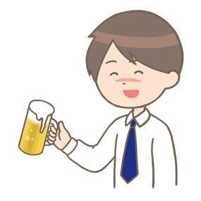 お酒を飲む男性のイラスト