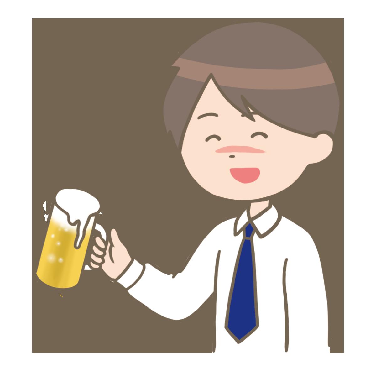 お酒を飲む男性のイラストフリー素材看護rooカンゴルー