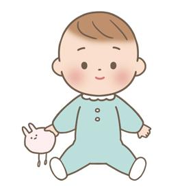 おもちゃを持って座っている赤ちゃんのイラスト