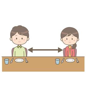 横並びで距離をとって食事をするイラスト
