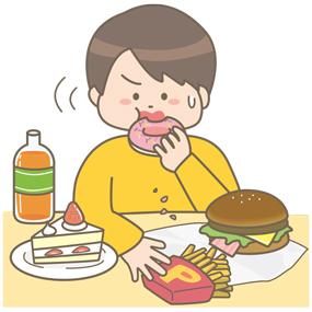食べ過ぎによって太った(肥満)男性のイラストです。高カロリーな食品をたくさん食べています。