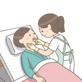 摂食・嚥下訓練で頬の運動(他動)をする患者さんのイラスト