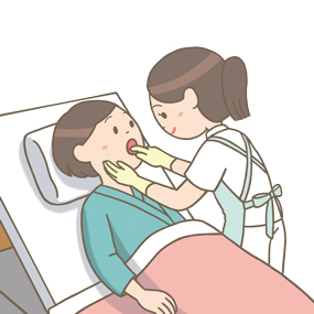 接触・嚥下訓練で舌運動(他動)をする患者さんのイラスト