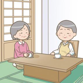 高齢者夫婦が自宅でのんびり休んでいるイラスト
