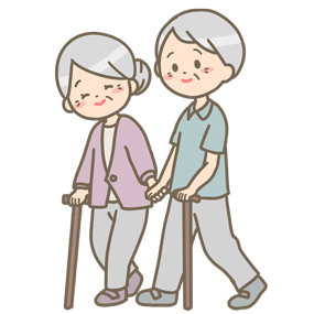 散歩をしているご老人夫婦のイラストです。話をしながら杖をついて歩いています。