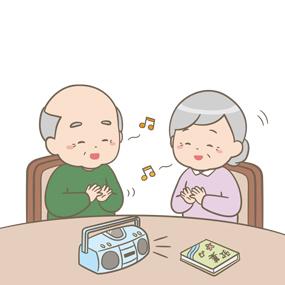 高齢の男女が音楽に合わせて歌っているイラスト