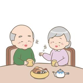 高齢の男女が楽しそうに会話をしているイラスト