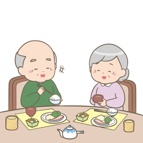 高齢者の男女が楽しそうに食事をしているイラストです。