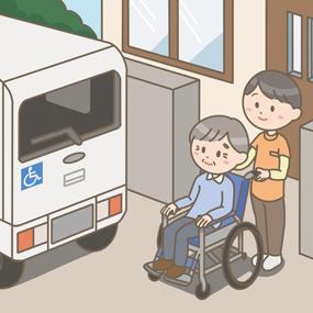 高齢者が車椅子に乗車し、介護タクシーで通院をするイラストです。介護タクシーの運転手が車椅子介助をしています。