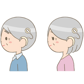 人工内耳をつけている高齢者(男性・女性)のイラスト