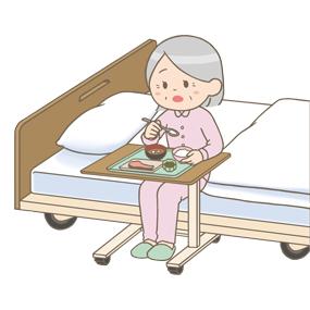 端座位で食事をする高齢者(女性)のイラスト