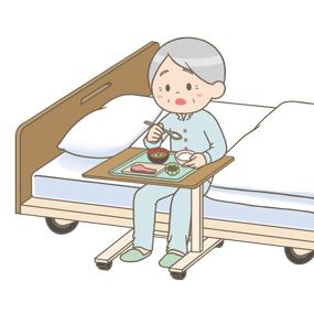 端座位で食事をする高齢者(男性)のイラスト