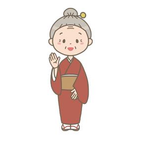 お団子ヘアーの高齢女性のイラスト