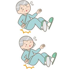 転倒して尻もちをついた高齢女性患者と高齢男性患者さんのイラスト