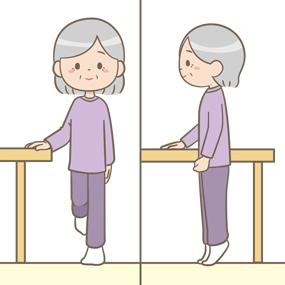 ロコトレで片足立ちや、つま先立ちをしている高齢者(女性)のイラスト
