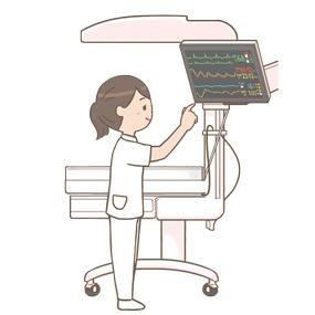 ベットサイド上部に備え付けである、心電図モニターを操作する看護師さんのイラストです。