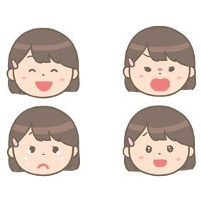看護学生の喜怒哀楽の顔のイラスト