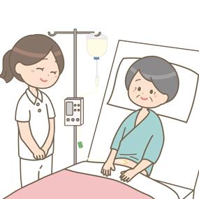 経腸栄養剤を投与している患者さんのイラストです。看護師さんが隣で見守っています。