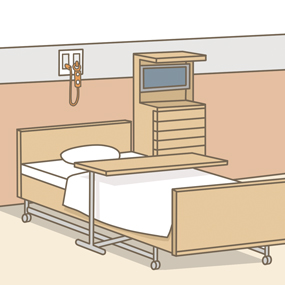 ベッド周囲環境のイラスト(ベッド・床頭台・ナースコール・オーバーテーブル)