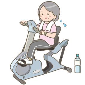 エルゴメーターを漕いでいる高齢女性のイラスト