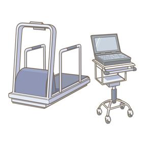 運動負荷心電図測定装置のイラストです。運動負荷心電図検査の際に用います。